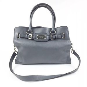 Michael Kors Gray Leather Hamilton Logo Plate Tote